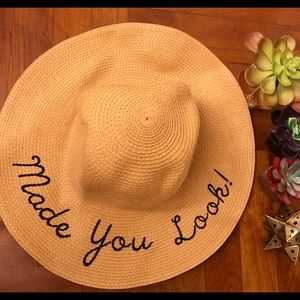 "Accessories - ""Made you look"" wide brimmed summer hat"